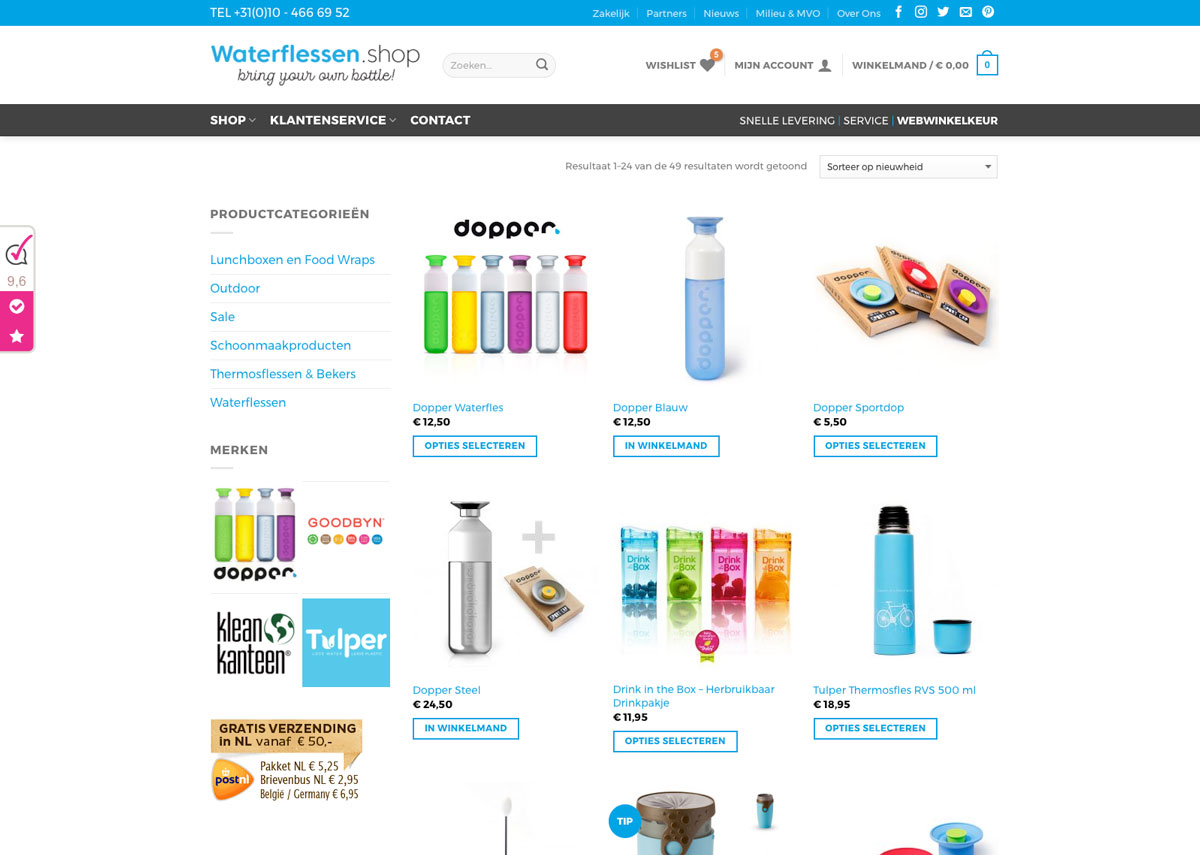 Waterfles kopen? Waterflessen.shop